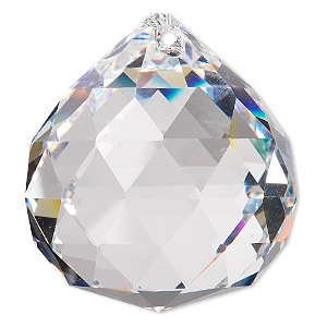 suncatcher, asfour crystal, crystal, crystal clear, 44x40mm faceted round teardrop. sold per pkg of 20.