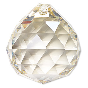 suncatcher, asfour crystal, crystal, transparent clear golden shadow, 44x40mm faceted round teardrop. sold per pkg of 20.