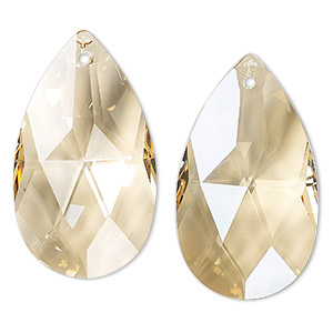 suncatcher, asfour crystal, crystal, transparent clear golden shadow, 49x28mm faceted puffed teardrop. sold individually.