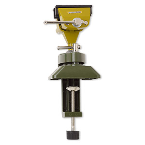 table vise, proxxon™, steel / zinc / rubber, green / olive green / black, 5-3/4 x 4 inches with swivel base and 3-inch jaw length. sold individually.