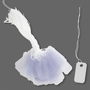 tag, pvc and string, white and transparent frosted clear, 1 x 1/2 inch. sold per pkg of 100.