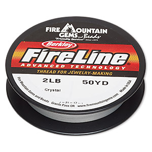 thread, berkley fireline, gel-spun polyethylene, crystal, 0.08mm diameter, 2-pound test. sold per 50-yard spool.