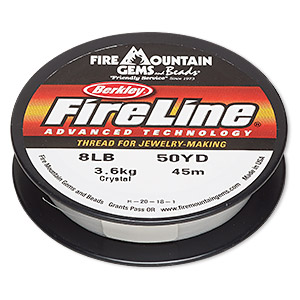 thread, berkley fireline, gel-spun polyethylene, crystal, 0.18mm diameter, 8-pound test. sold per 50-yard spool.