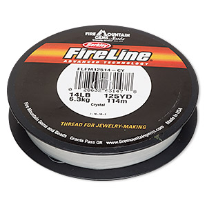 thread, berkley fireline, gel-spun polyethylene, crystal, 0.23mm diameter, 14-pound test. sold per 125-yard spool.