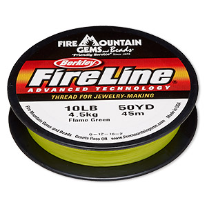 thread, berkley fireline, gel-spun polyethylene, flame green, 0.2mm diameter, 10-pound test. sold per 50-yard spool.
