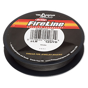 thread, berkley fireline, gel-spun polyethylene, smoke, 0.08mm diameter, 2-pound test. sold per 125-yard spool.