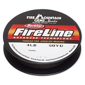 thread, berkley fireline, gel-spun polyethylene, smoke, 0.13mm diameter, 4-pound test. sold per 50-yard spool.