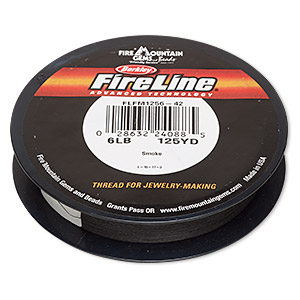 thread, berkley fireline, gel-spun polyethylene, smoke, 0.15mm diameter, 6-pound test. sold per 125-yard spool.