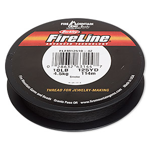 thread, berkley fireline, gel-spun polyethylene, smoke, 0.2mm diameter, 10-pound test. sold per 125-yard spool.