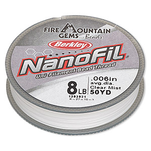 thread, berkley nanofil, dyneema nanofilament, clear mist, 0.006-inch diameter, 8-pound test. sold per 50-yard spool.