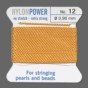thread, nylon, amber yellow, size #12. sold per 2-yard card.