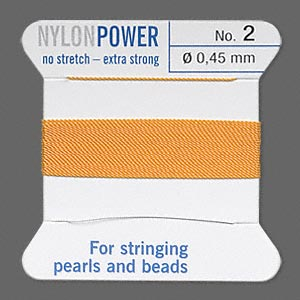 thread, nylon, amber yellow, size #2. sold per 2-yard card.