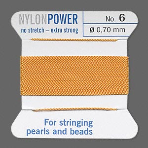 thread, nylon, amber yellow, size #6. sold per 2-yard card.
