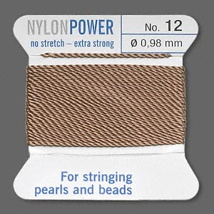 thread, nylon, beige, size #12. sold per 2-yard card.