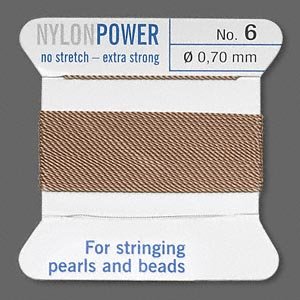 thread, nylon, beige, size #6. sold per 2-yard card.