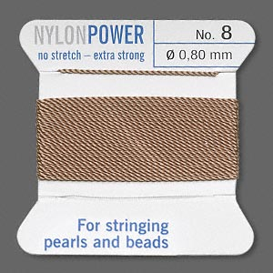 thread, nylon, beige, size #8. sold per 2-yard card.