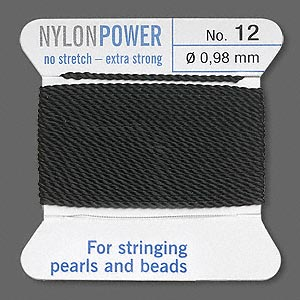 thread, nylon, black, size #12. sold per 2-yard card.