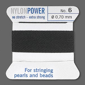 thread, nylon, black, size #6. sold per 2-yard card.