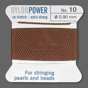 thread, nylon, brown, size #10. sold per 2-yard card.