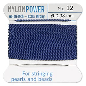 thread, nylon, dark blue, size #12. sold per 2-yard card.