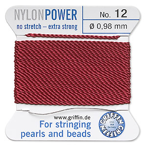 thread, nylon, garnet red, size #12. sold per 2-yard card.