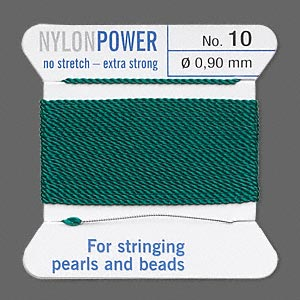 thread, nylon, green, size #10. sold per 2-yard card.