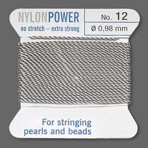 thread, nylon, grey, size #12. sold per 2-yard card.