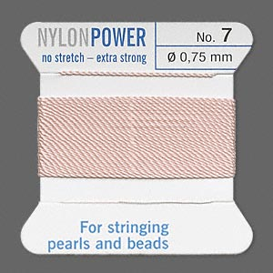 thread, nylon, light pink, size #7. sold per 2-yard card.