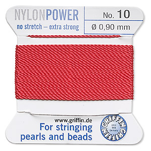 thread, nylon, red, size #10. sold per 2-yard card.