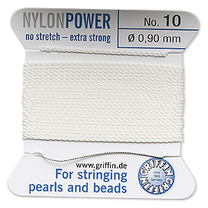 thread, nylon, white, size #10. sold per 2-yard card.