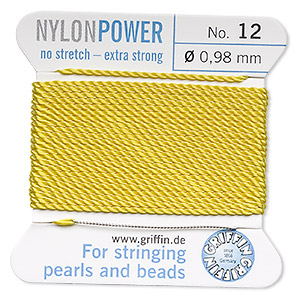 thread, nylon, yellow, size #12. sold per 2-yard card.