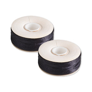 thread, nymo, nylon, black, size o. sold per pkg of (2) 90-yard bobbins.