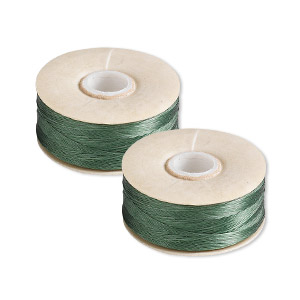 thread, nymo, nylon, green, size o. sold per pkg of (2) 90-yard bobbins.