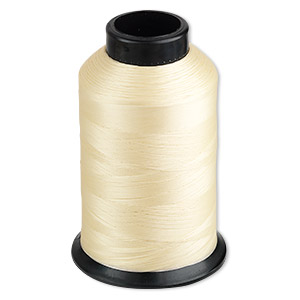 thread, nymo, nylon, light tan, size d. sold per 3-ounce spool.