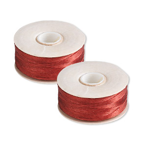 thread, nymo, nylon, red, size d. sold per pkg of (2) 64-yard bobbins.