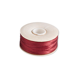 thread, nymo, nylon, red, size o. sold per pkg of (2) 90-yard bobbins.