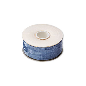 thread, nymo, nylon, royal blue, size o. sold per pkg of (2) 90-yard bobbins.