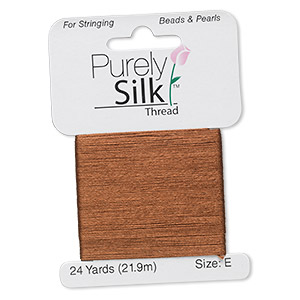 thread, purely silk™, brown, size e. sold per 24-yard card.