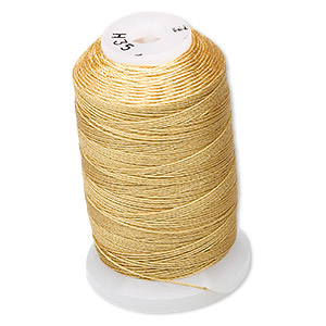 thread, purely silk™, gold, size e. sold per 200-yard spool.