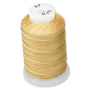 thread, purely silk™, gold, size ff. sold per 115-yard spool.