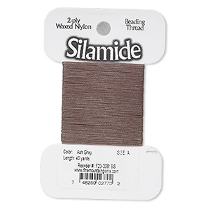 thread, silamide, 2-ply waxed nylon, ash grey, size a, 4-pound test. sold per 40-yard card.