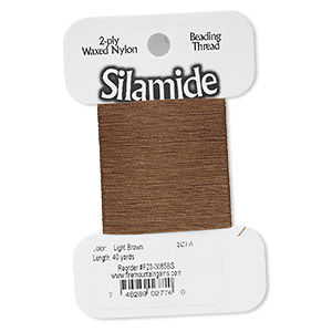 thread, silamide, 2-ply waxed nylon, light brown, size a, 4-pound test. sold per 40-yard card.