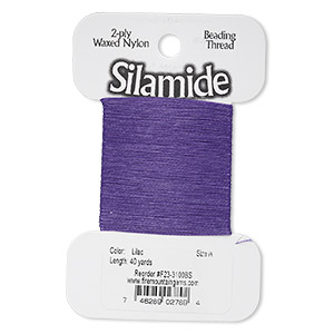 thread, silamide, 2-ply waxed nylon, lilac, size a, 4-pound test. sold per 40-yard card.