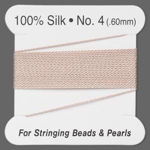 thread, silk, light pink, size #4. sold per 2-meter card.
