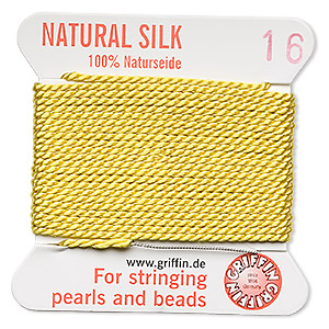 thread, silk, yellow, size #16. sold per 2-yard card.