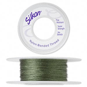 thread, silkon, bonded nylon, heavyweight #3, green. sold per 20-yard spool.