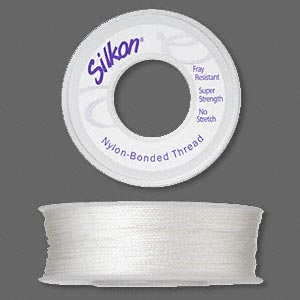 thread, silkon, bonded nylon, heavyweight #3, white. sold per 100-yard spool.