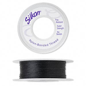thread, silkon, bonded nylon, lightweight #1, black. sold per 100-yard spool.