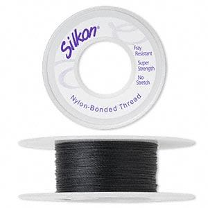 thread, silkon, bonded nylon, lightweight #1, black. sold per 20-yard spool.