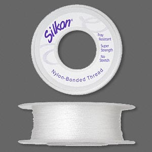 thread, silkon, bonded nylon, lightweight #1, white. sold per 100-yard spool.
